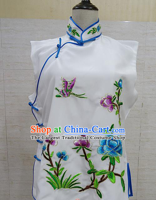 Chinese Traditional Beijing Opera Embroidered Peony White Waistcoat Peking Opera Maidservants Costume for Adults