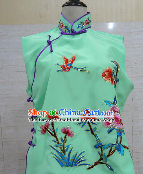 Chinese Traditional Beijing Opera Embroidered Peony Green Waistcoat Peking Opera Maidservants Costume for Adults