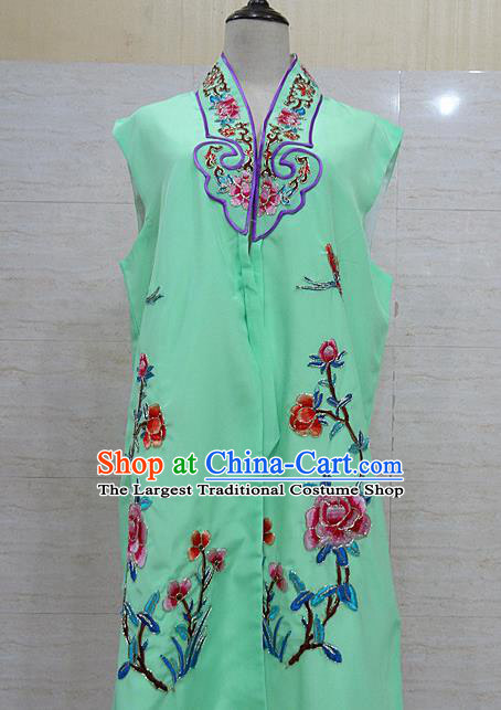 Chinese Traditional Beijing Opera Maidservants Green Embroidered Peony Waistcoat Peking Opera Costume for Adults