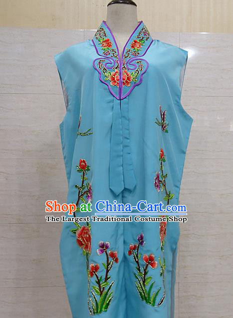 Chinese Traditional Beijing Opera Maidservants Blue Embroidered Peony Waistcoat Peking Opera Costume for Adults
