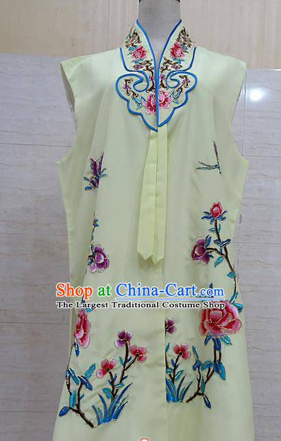 Chinese Traditional Beijing Opera Maidservants Light Yellow Embroidered Peony Waistcoat Peking Opera Costume for Adults