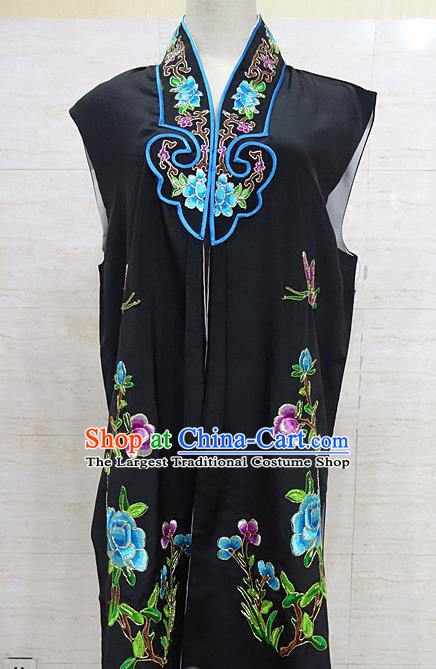 Chinese Traditional Beijing Opera Maidservants Black Embroidered Peony Waistcoat Peking Opera Costume for Adults