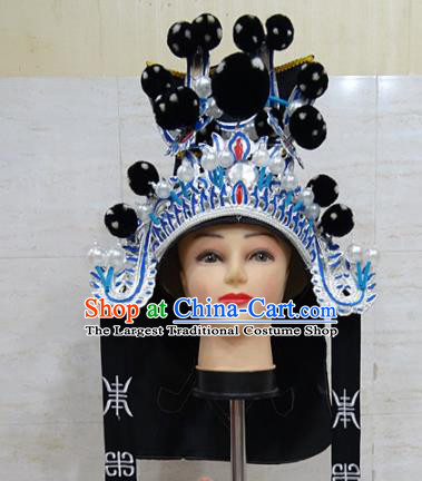 Chinese Traditional Beijing Opera Takefu Black Hat Ancient General Helmet Headwear for Adults