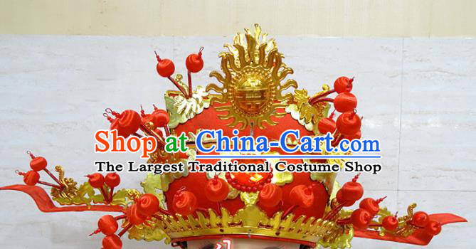 Chinese Traditional Beijing Opera Prime Minister Red Hat Ancient Chancellor Headwear for Adults