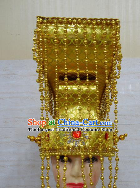 Chinese Traditional Beijing Opera Emperor Golden Crown Ancient King Headwear for Adults