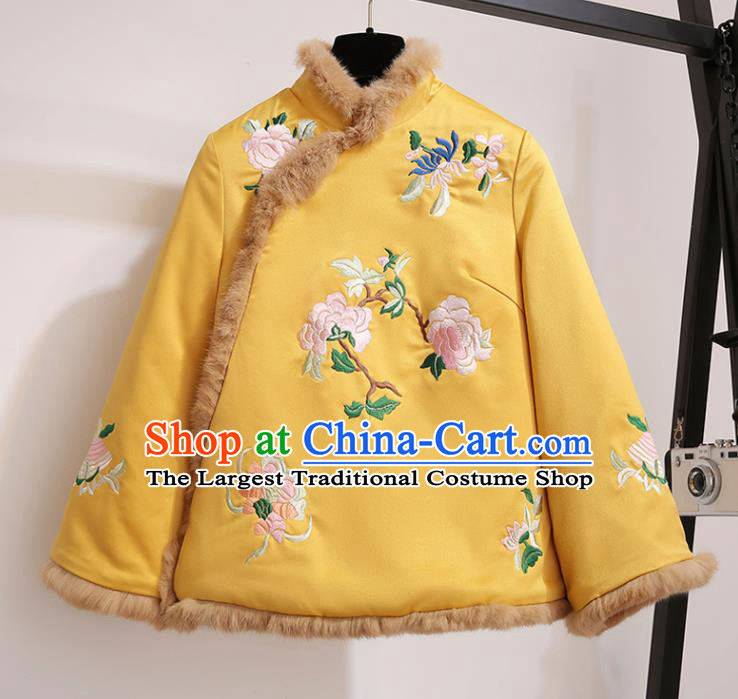 Chinese Traditional Costume Tang Suit Yellow Cotton Wadded Jacket Cheongsam Upper Outer Garment for Women