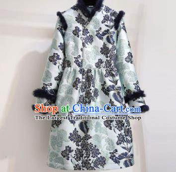 Chinese Traditional Tang Suit Costume Cotton Wadded Qipao Dress Cheongsam for Women