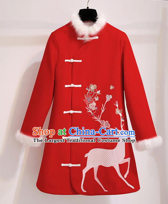 Chinese Traditional Costume Tang Suit Red Dust Coat Cheongsam Upper Outer Garment for Women