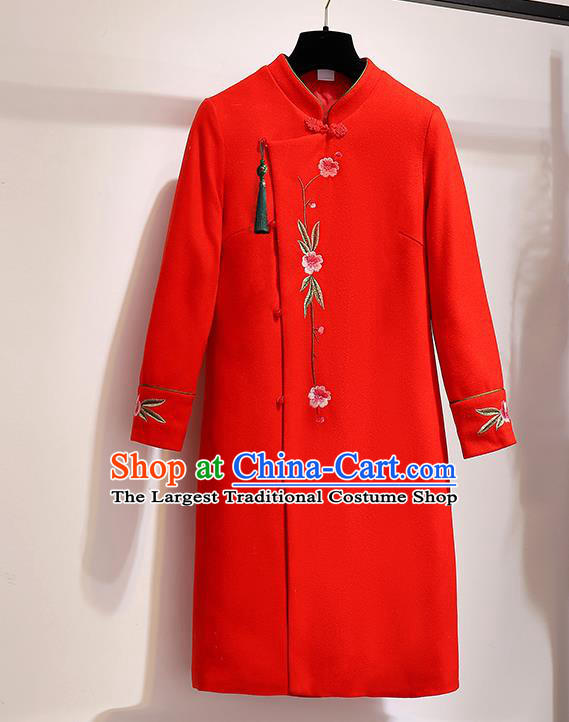Chinese Traditional Costume Tang Suit Red Wool Dust Coat Cheongsam Upper Outer Garment for Women