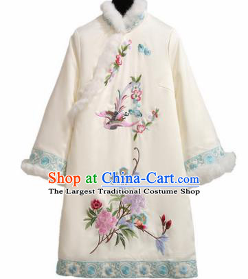 Chinese Traditional Tang Suit Costume Embroidered Peony White Cotton Wadded Qipao Dress Cheongsam for Women