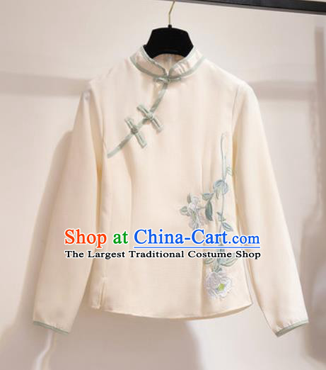 Chinese Traditional Costume Tang Suit Qipao Beige Blouse Cheongsam Upper Outer Garment for Women