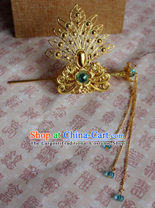 Chinese Traditional Prince Hair Accessories Ancient Swordsman Blue Beads Tassel Hairdo Crown Headwear for Men