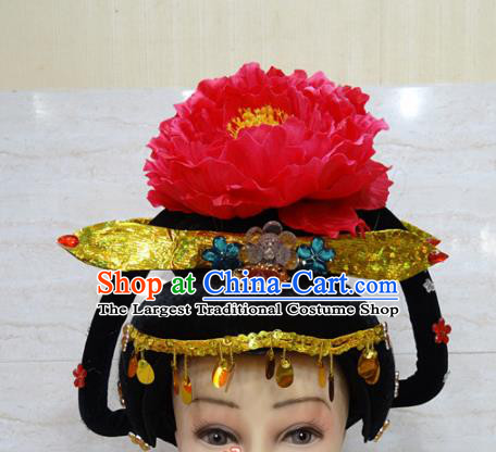 Chinese Traditional Beijing Opera Actress Hair Accessories Ancient Queen Red Peony Hairpins and Wigs for Adults