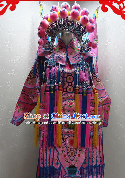 Chinese Traditional Beijing Opera Female General Pink Embroidered Clothing Peking Opera Mu Guiying Costume for Adults