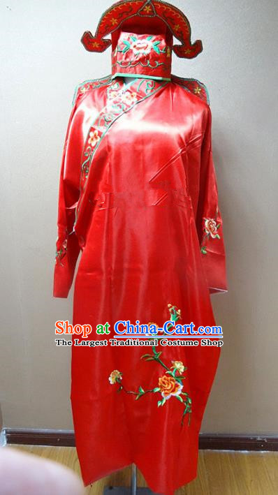 Professional Chinese Traditional Beijing Opera Niche Red Robe Ancient Scholar Embroidered Peony Costume for Adults