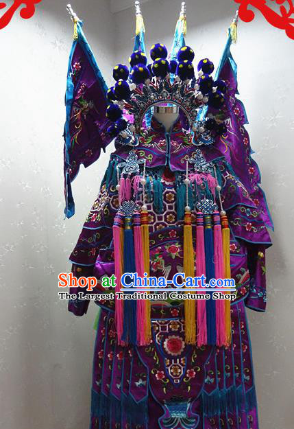 Chinese Traditional Beijing Opera Female General Purple Embroidered Clothing Peking Opera Mu Guiying Costume for Adults