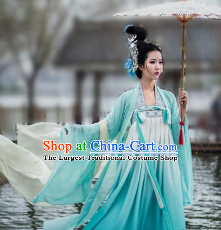 Chinese Ancient Goddess Peri Green Hanfu Dress Traditional Tang Dynasty Imperial Concubine Historical Costume for Women