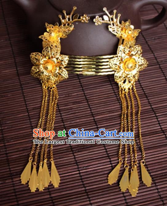 Chinese Traditional Wedding Hair Accessories Ancient Princess Golden Plum Blossom Butterfly Hair Combs for Women