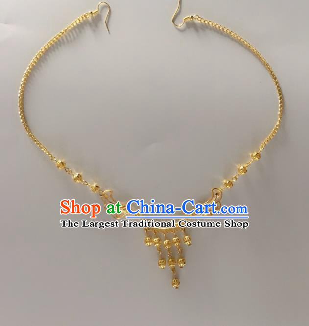 Chinese Traditional Wedding Hair Accessories Ancient Princess Golden Beads Eyebrows Pendant for Women