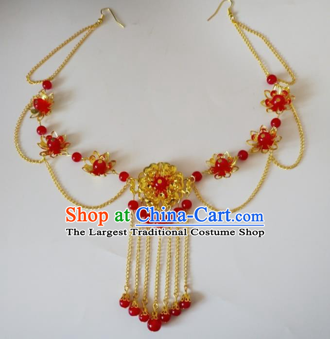 Chinese Traditional Wedding Hair Accessories Ancient Princess Red Beads Eyebrows Pendant Frontlet for Women