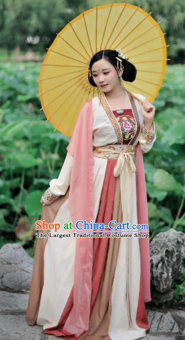 Chinese Ancient Imperial Concubine Hanfu Dress Traditional Tang Dynasty Palace Lady Historical Costumes Complete Set