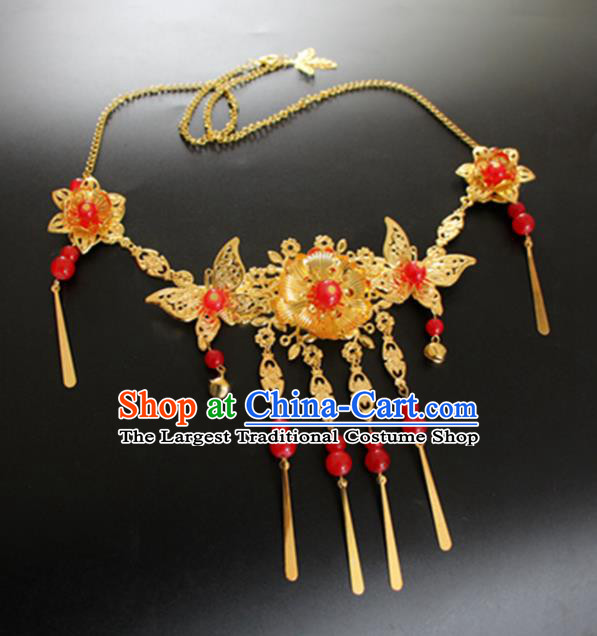 Chinese Traditional Wedding Jewelry Accessories Ancient Princess Golden Necklace for Women