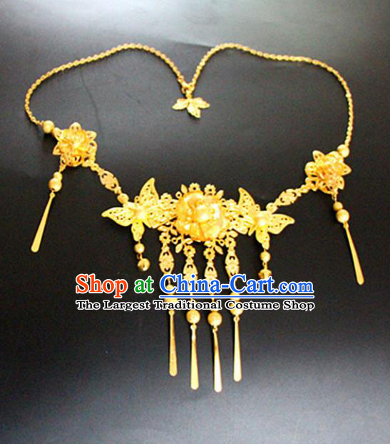 Chinese Traditional Wedding Jewelry Accessories Ancient Princess Golden Butterfly Necklace for Women