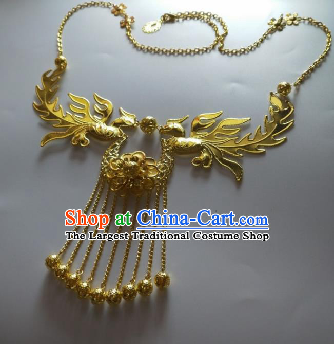 Chinese Traditional Wedding Jewelry Accessories Ancient Princess Golden Phoenix Necklace for Women