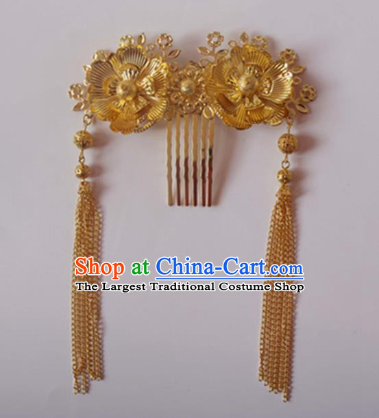 Chinese Traditional Wedding Hair Accessories Golden Hair Comb Ancient Princess Hairpins for Women