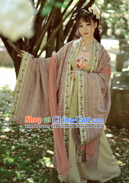 Chinese Ancient Peri Princess Hanfu Dress Tang Dynasty Imperial Concubine Historical Costumes Complete Set