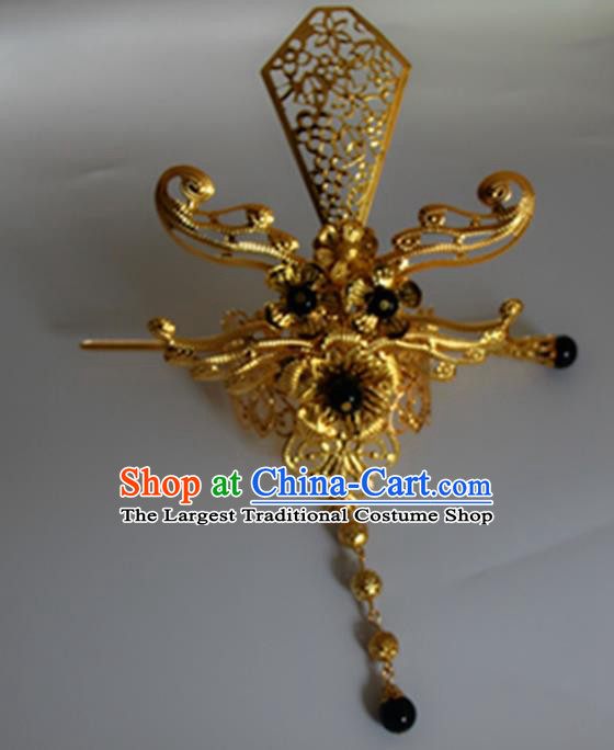 Chinese Traditional Nobility Childe Hair Accessories Hairpins Ancient Swordsman Black Beads Hairdo Crown for Men