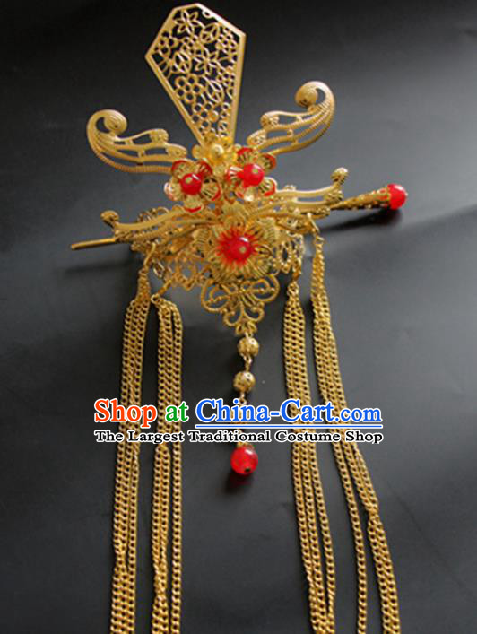 Chinese Traditional Nobility Childe Hair Accessories Hairpins Ancient Swordsman Red Beads Hairdo Crown for Men