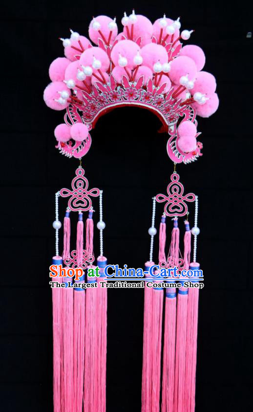 Chinese Traditional Beijing Opera Diva Hair Accessories Peking Opera Pink Venonat Phoenix Coronet