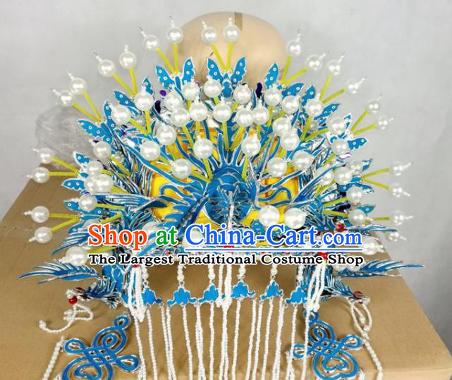 Chinese Traditional Beijing Opera Diva Hair Accessories Peking Opera Queen Blue Phoenix Coronet