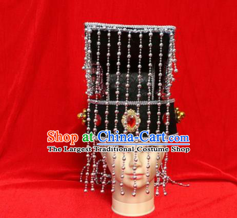 Chinese Traditional Beijing Opera Hat Peking Opera Emperor Tassel Black Hat