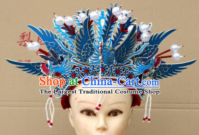 Chinese Traditional Beijing Opera Diva Hair Accessories Peking Opera Queen Three Phoenix Coronet