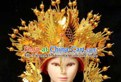 Chinese Traditional Beijing Opera Diva Hair Accessories Peking Opera Imperial Consort Golden Phoenix Coronet