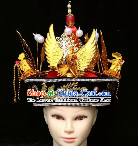 Chinese Traditional Beijing Opera Hair Accessories Ancient Qing Dynasty Imperial Consort Phoenix Hat