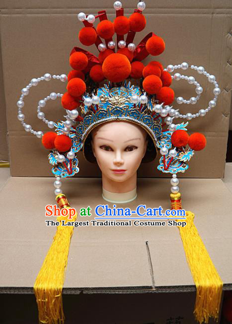 Chinese Traditional Beijing Opera General Headwear Peking Opera Military Officer Helmet
