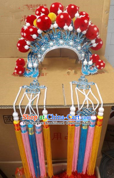 Chinese Traditional Beijing Opera Queen Hair Accessories Ancient Bride Butterfly Phoenix Coronet