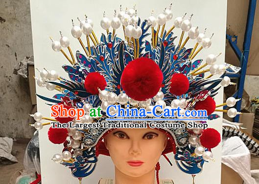 Chinese Traditional Beijing Opera Queen Hair Accessories Ancient Bride Pearls Phoenix Coronet