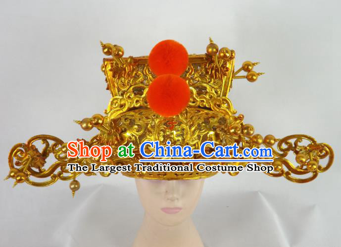 Chinese Traditional Beijing Opera Prime Minister Headwear Ancient Chancellor Golden Hat