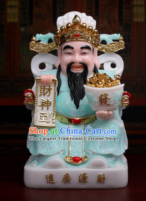 Chinese Traditional Religious Supplies Feng Shui Blue Clothing Taoism Wealth God Decoration