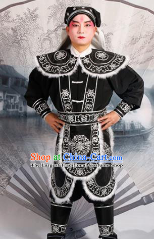 Chinese Traditional Beijing Opera Takefu Costume Ancient Swordsman Black Clothing