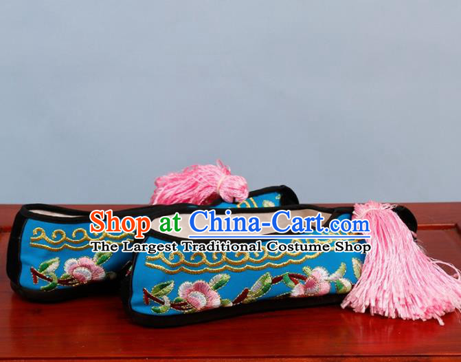 Chinese Traditional Beijing Opera Shoes Peking Opera Diva Blue Cloth Embroidered Shoes