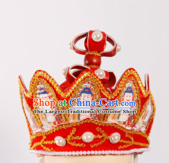 Chinese Traditional Beijing Opera Headwear Peking Opera Monk Red Buddhism Hat