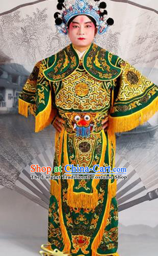 Chinese Traditional Beijing Opera Takefu Costume Ancient Warrior Green Clothing
