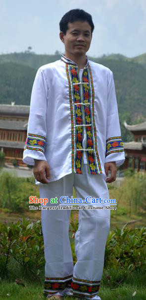 Chinese Traditional Miao Nationality Male Costume Ethnic Folk Dance White Clothing for Men