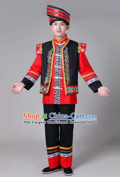 Chinese Traditional Zhuang Nationality Male Costume Ethnic Bridegroom Folk Dance Clothing for Men