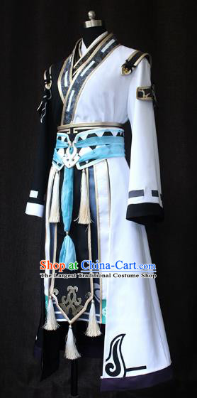 Chinese Ancient Cosplay Taoist Swordsman Costume Traditional Young Hero Clothing for Men